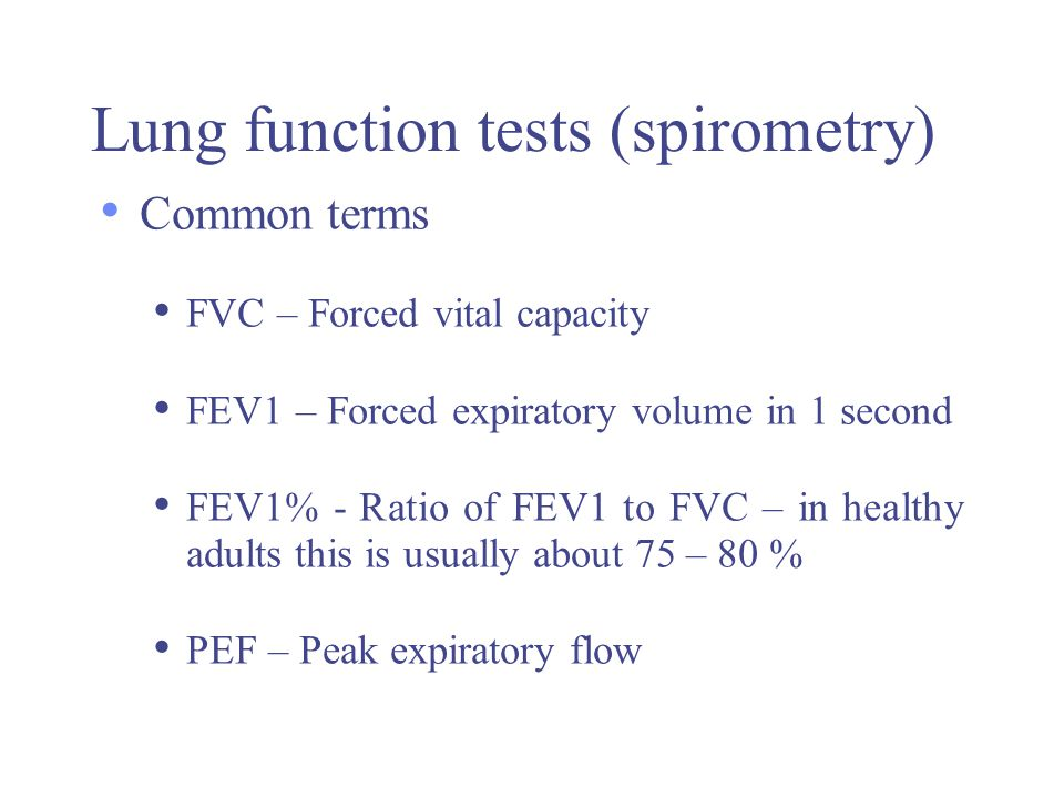 Lung function tests (spirometry)