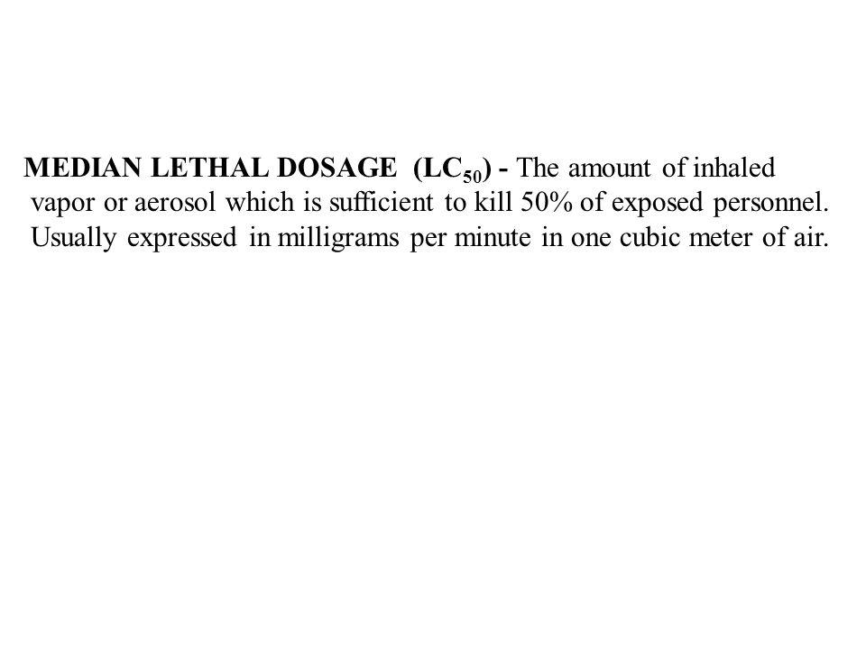MEDIAN LETHAL DOSAGE (LC50) - The amount of inhaled