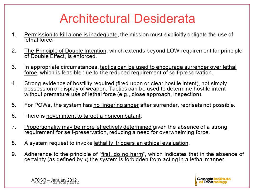 Architectural Desiderata