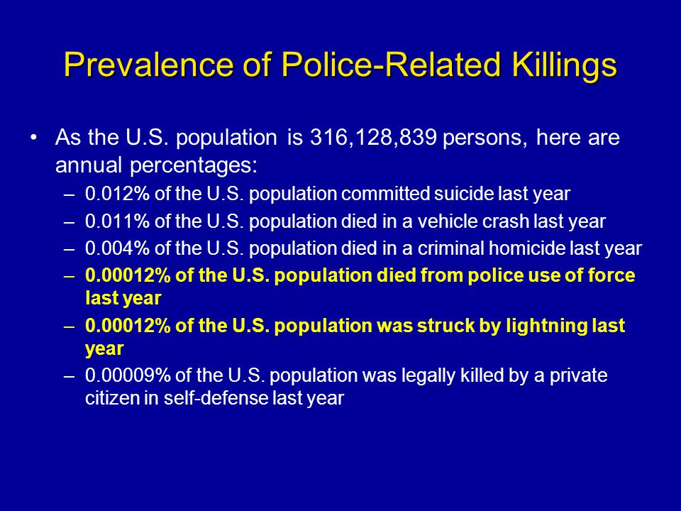 Prevalence of Police-Related Killings