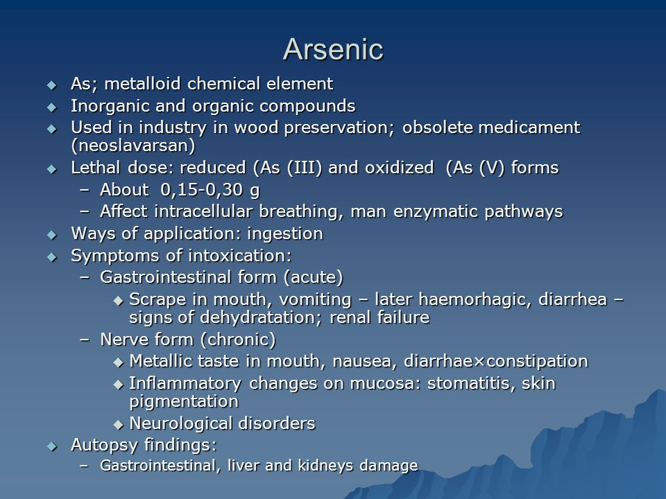 Arsenic As; metalloid chemical element Inorganic and organic compounds