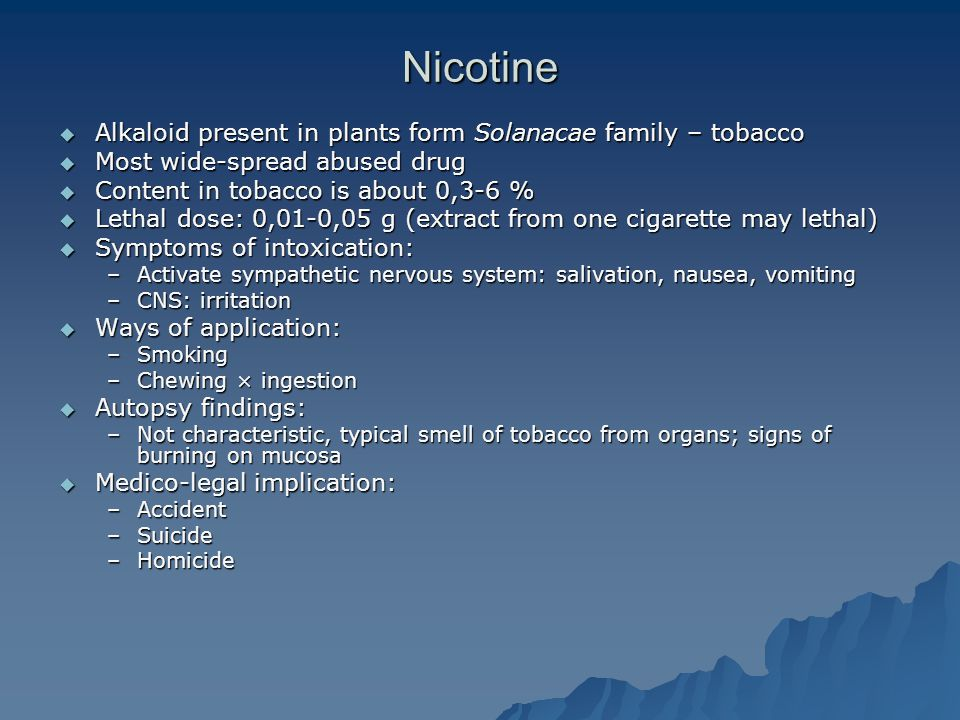 Nicotine Alkaloid present in plants form Solanacae family – tobacco
