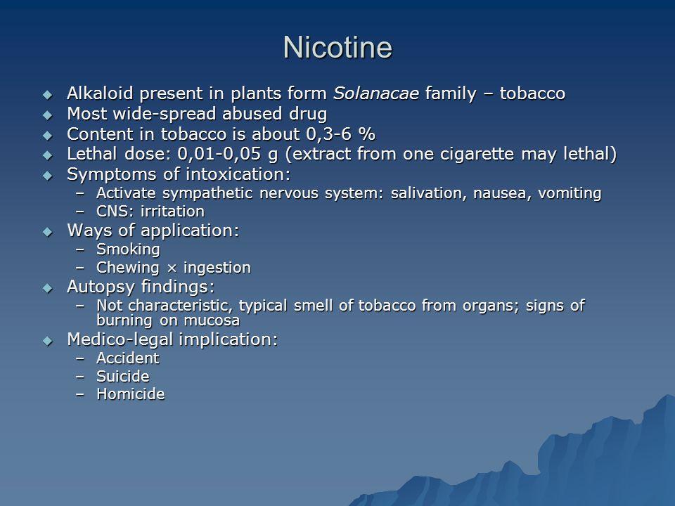 Nicotine Alkaloid present in plants form Solanacae family – tobacco