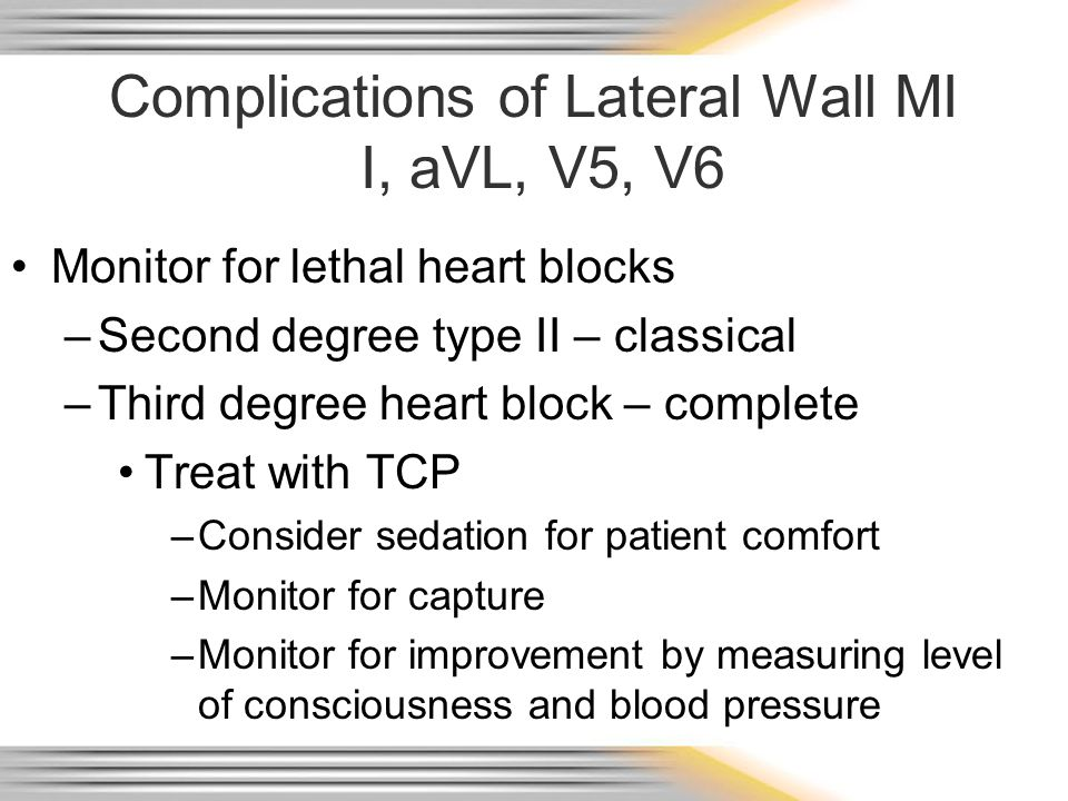 Complications of Lateral Wall MI I, aVL, V5, V6
