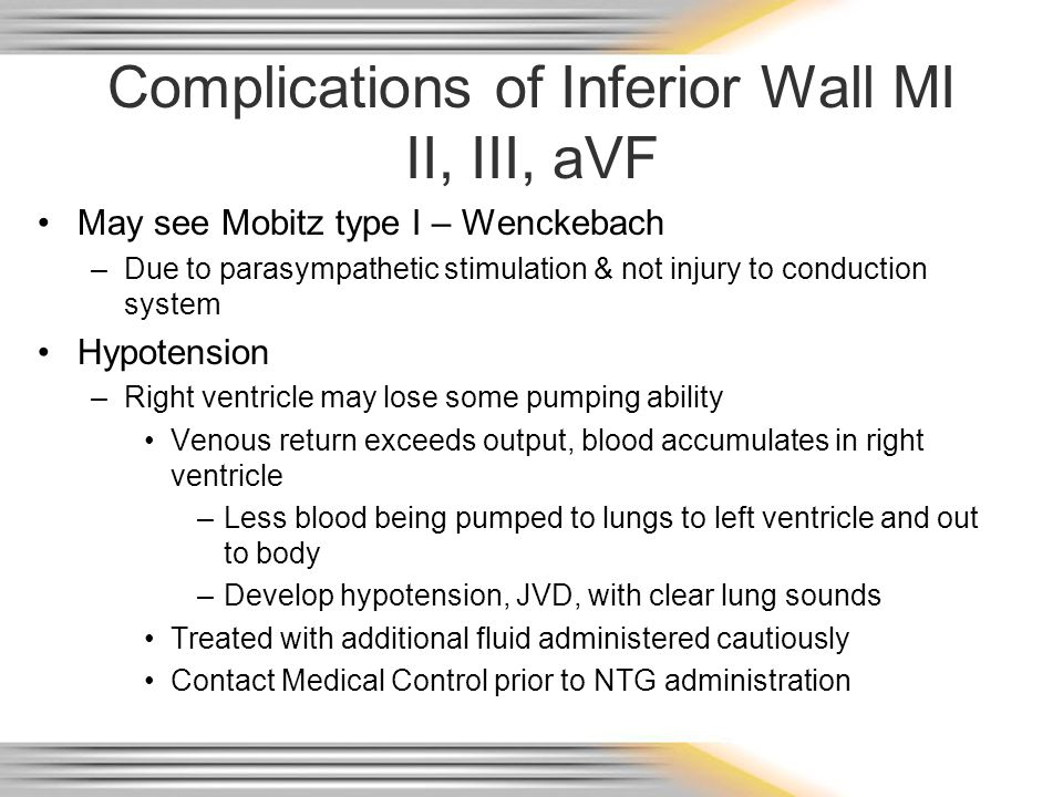 Complications of Inferior Wall MI II, III, aVF