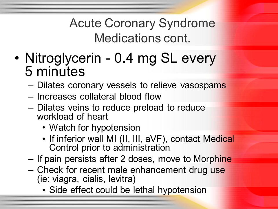 Acute Coronary Syndrome Medications cont.