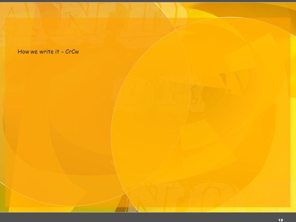 03/06/11 How we write it - CrCw