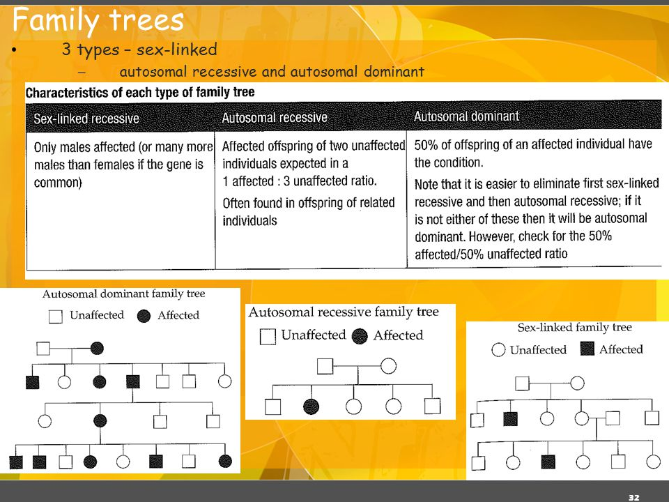 Family trees 3 types – sex-linked