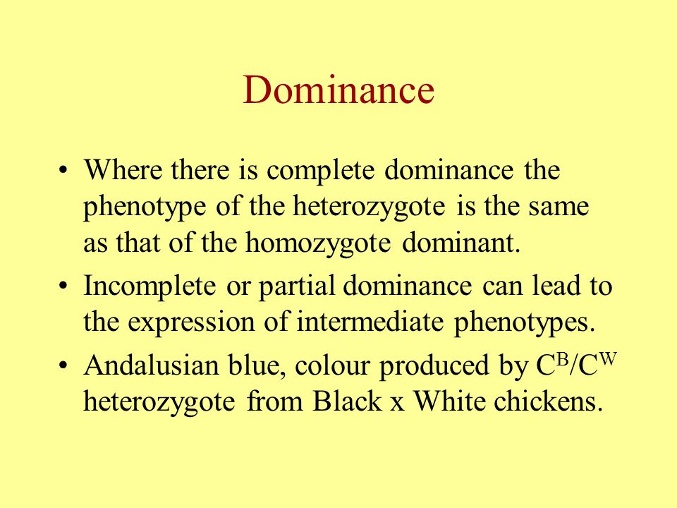 Dominance Where there is complete dominance the phenotype of the heterozygote is the same as that of the homozygote dominant.