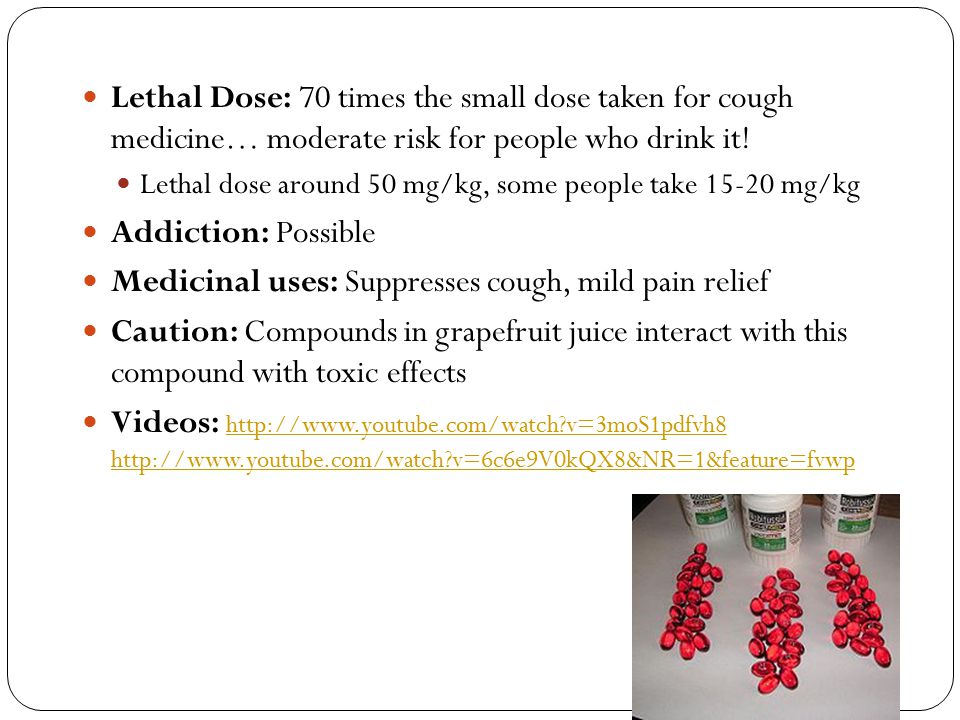 Medicinal uses: Suppresses cough, mild pain relief