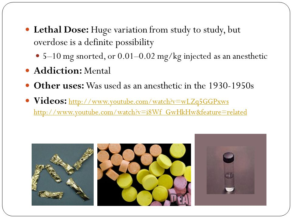 Other uses: Was used as an anesthetic in the 1930-1950s