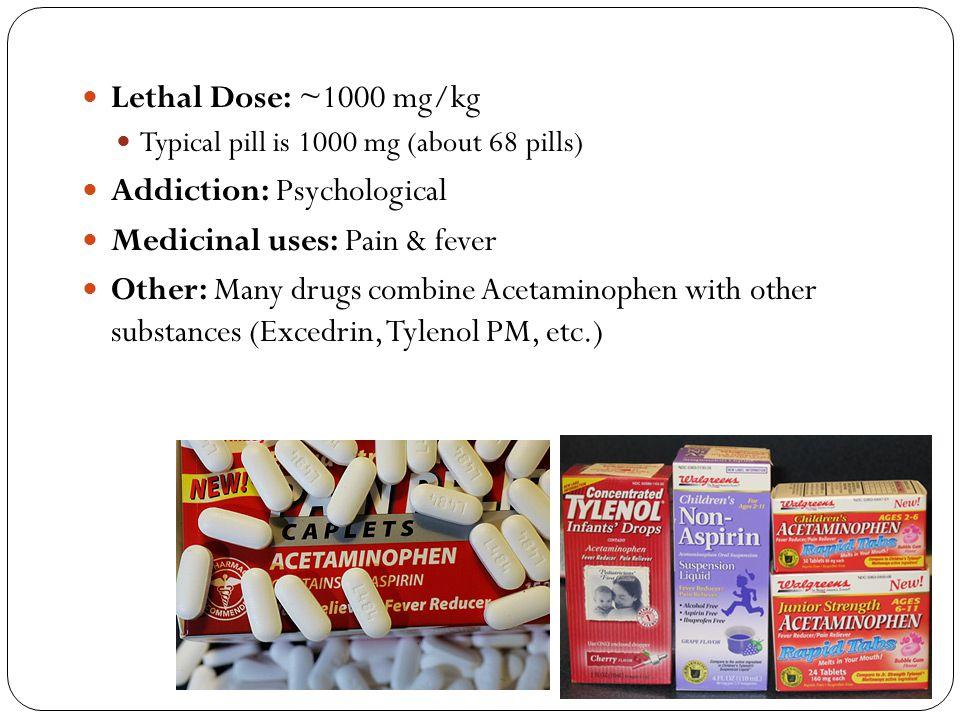 Addiction: Psychological Medicinal uses: Pain & fever