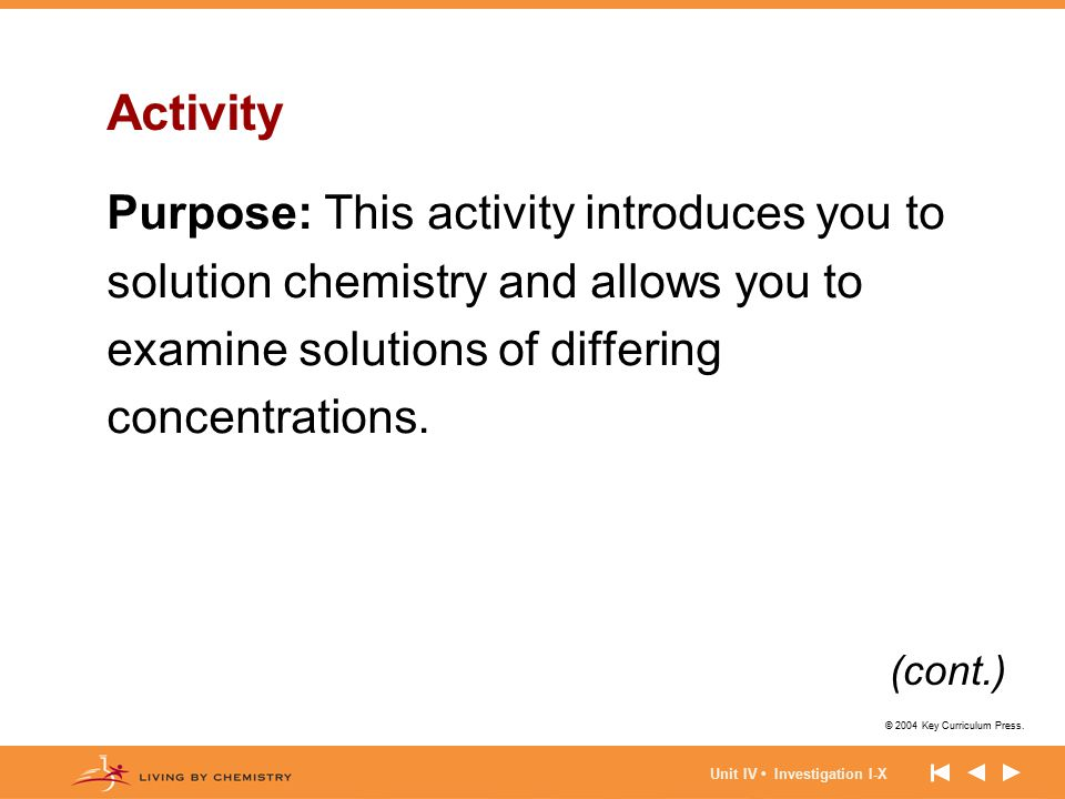 Activity Purpose: This activity introduces you to solution chemistry and allows you to examine solutions of differing concentrations.