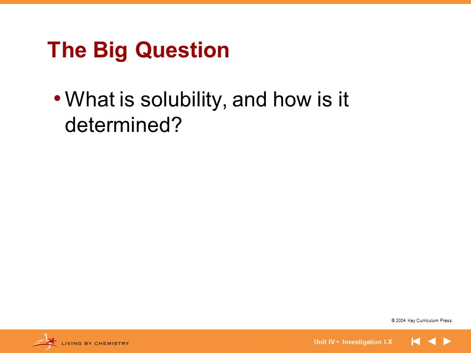 The Big Question What is solubility, and how is it determined