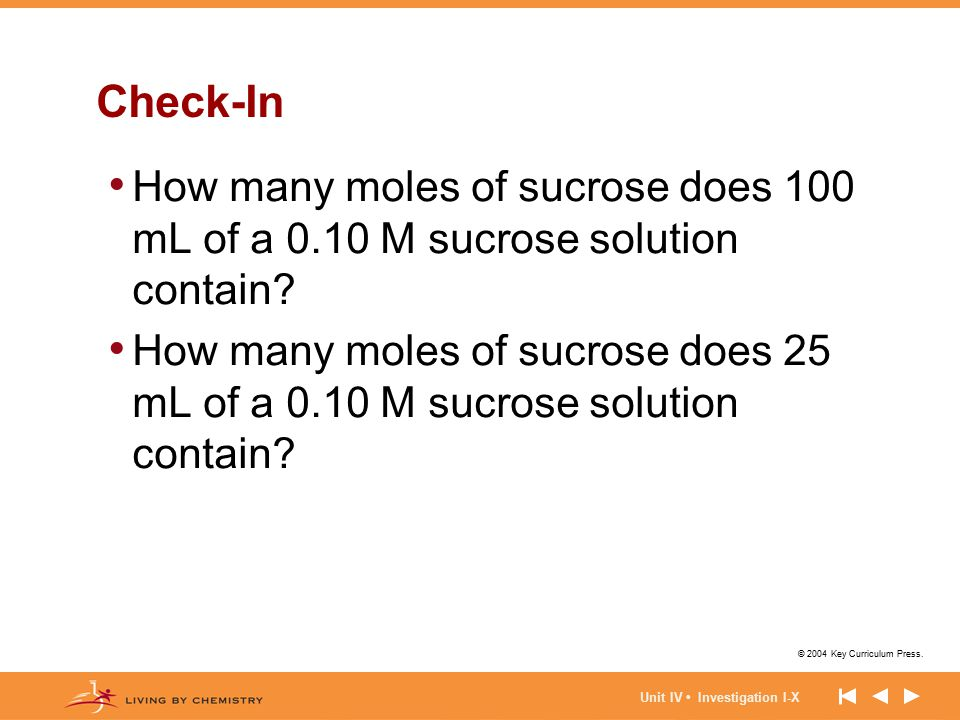 Check-In How many moles of sucrose does 100 mL of a 0.10 M sucrose solution contain