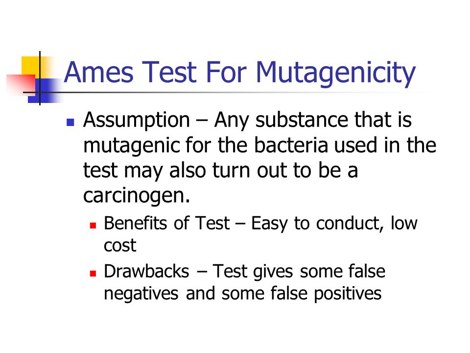 the ames test testing carcinogens using The ames test uses bacteria cultures to determine whether a substance causes genetic two tests were performed using the ovary cells: sister.