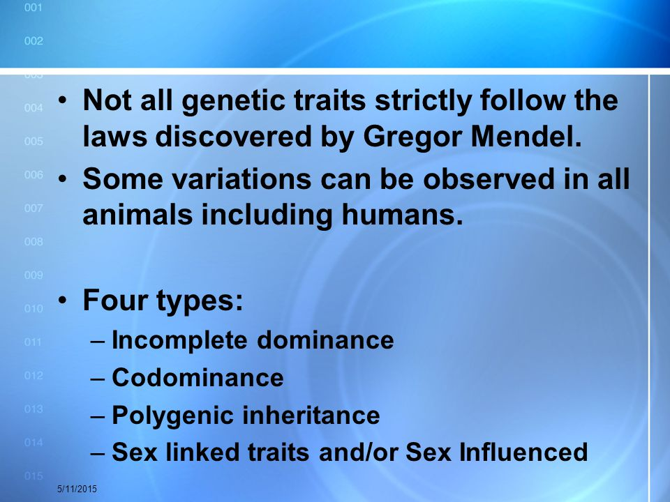 Some variations can be observed in all animals including humans.