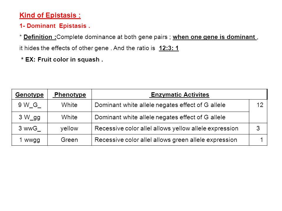 Kind of Epistasis : 1- Dominant Epistasis .