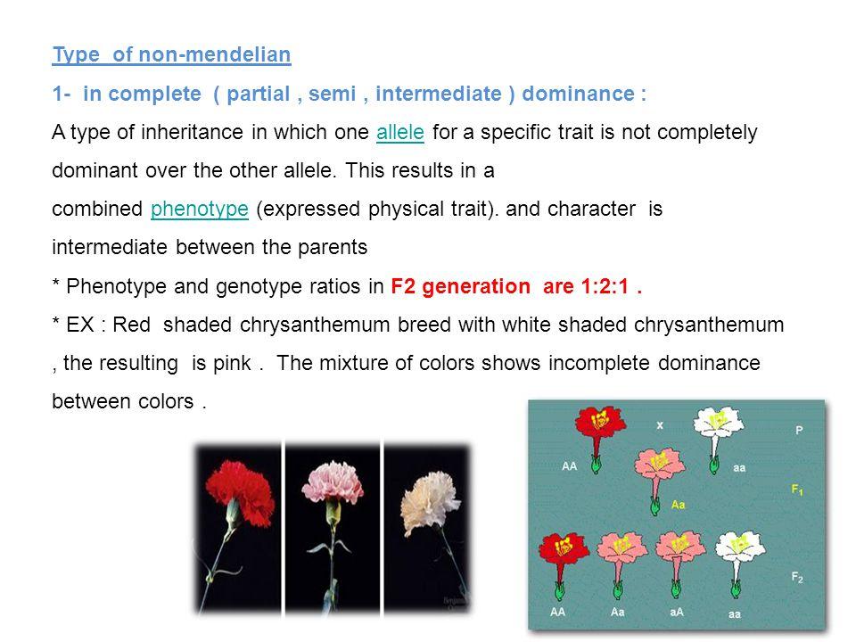 Type of non-mendelian 1- in complete ( partial , semi , intermediate ) dominance :