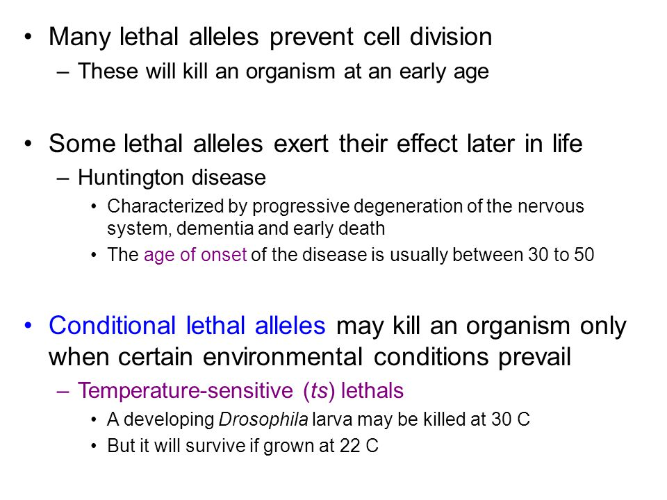 Many lethal alleles prevent cell division