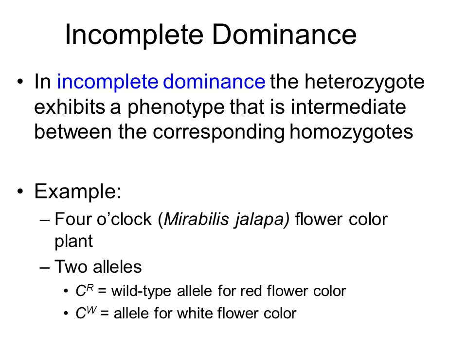 Incomplete Dominance In incomplete dominance the heterozygote exhibits a phenotype that is intermediate between the corresponding homozygotes.