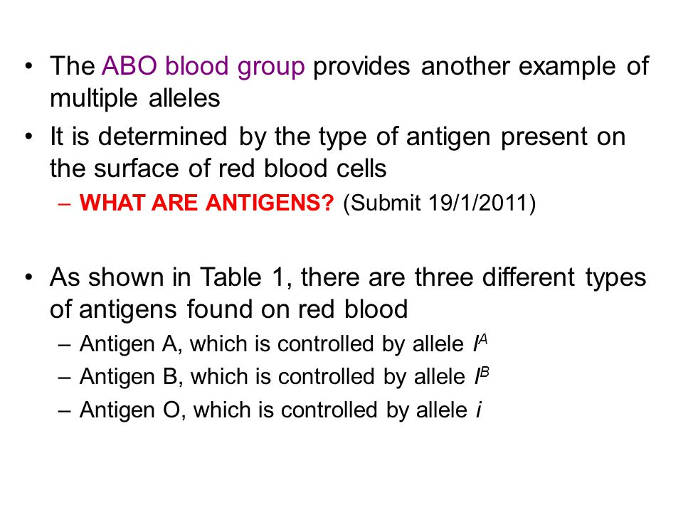 The ABO blood group provides another example of multiple alleles