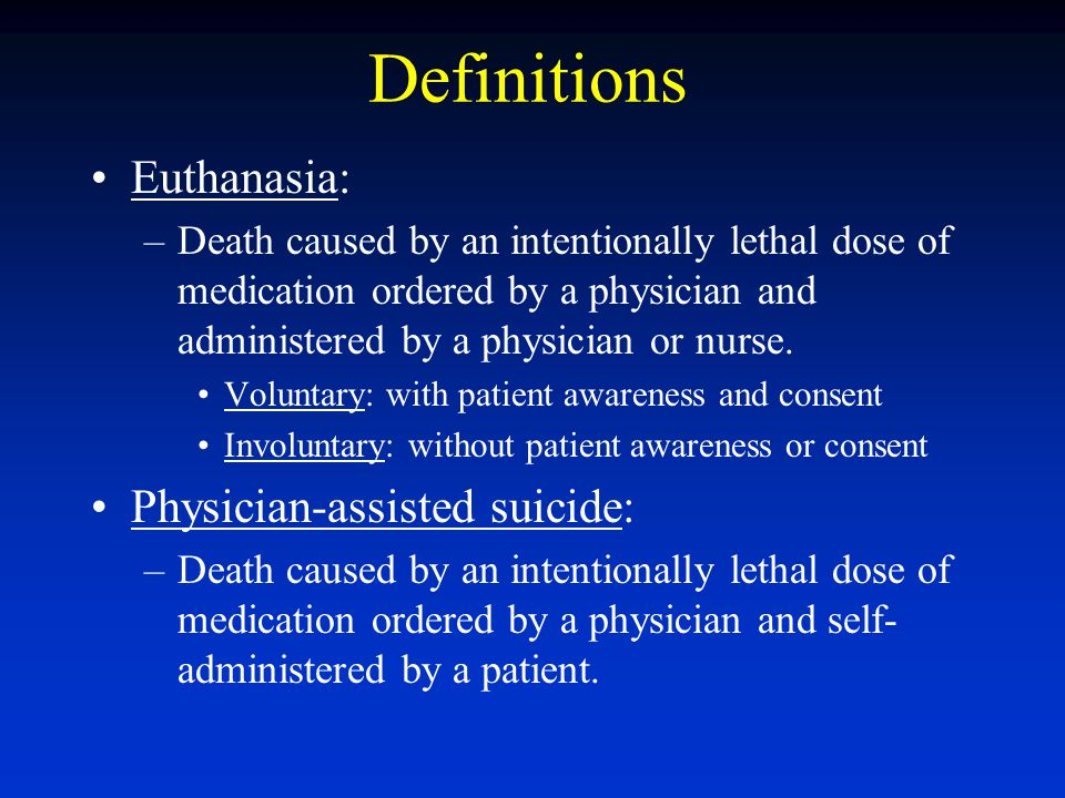 Definitions Euthanasia: Physician-assisted suicide: