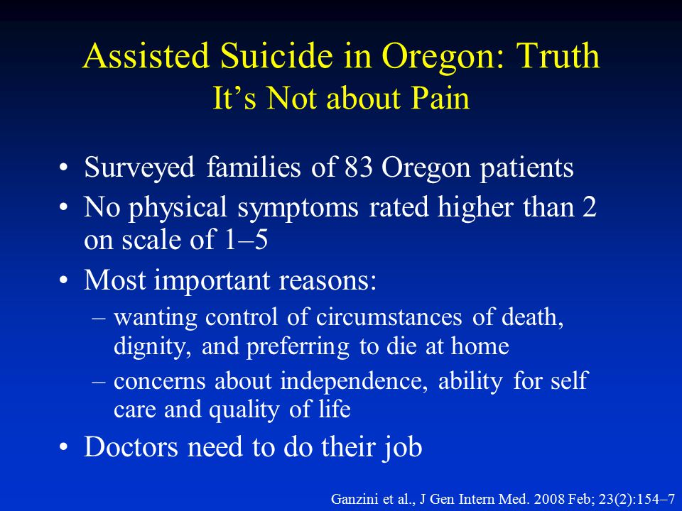 Assisted Suicide in Oregon: Truth It's Not about Pain