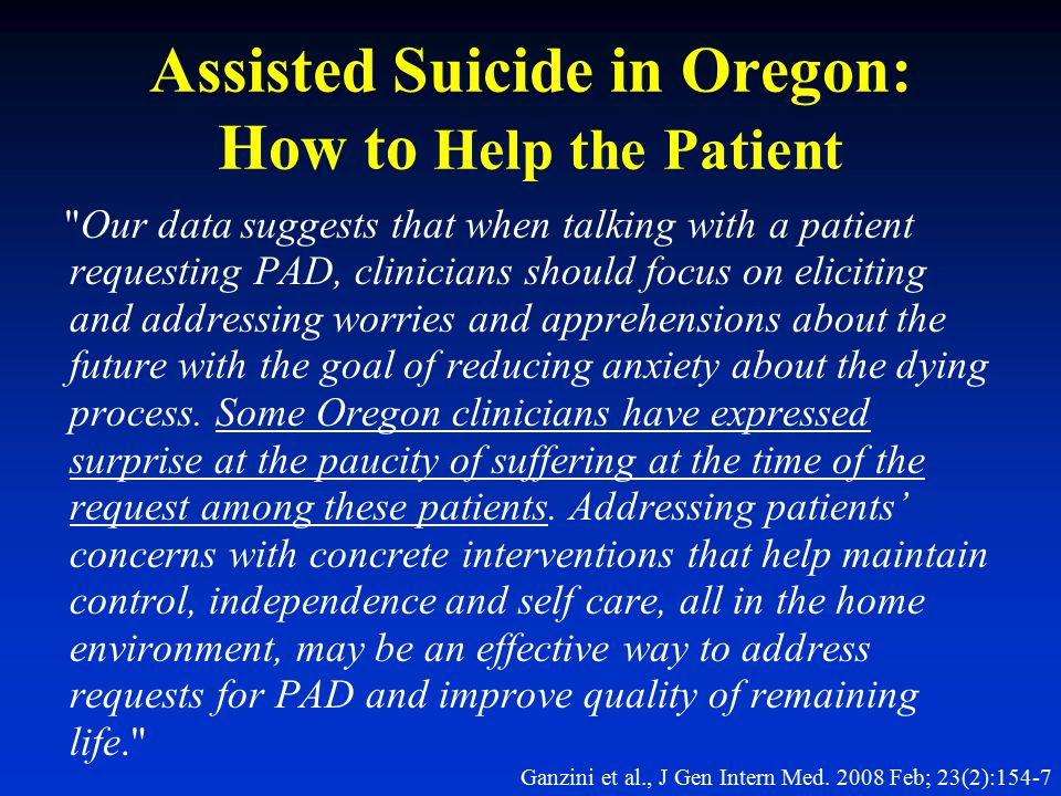 Assisted Suicide in Oregon: How to Help the Patient