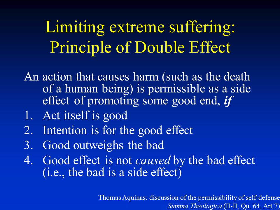 Limiting extreme suffering: Principle of Double Effect