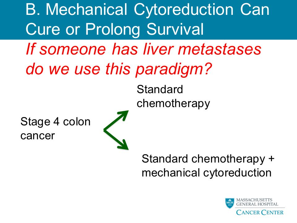 B. Mechanical Cytoreduction Can Cure or Prolong Survival If someone has liver metastases do we use this paradigm