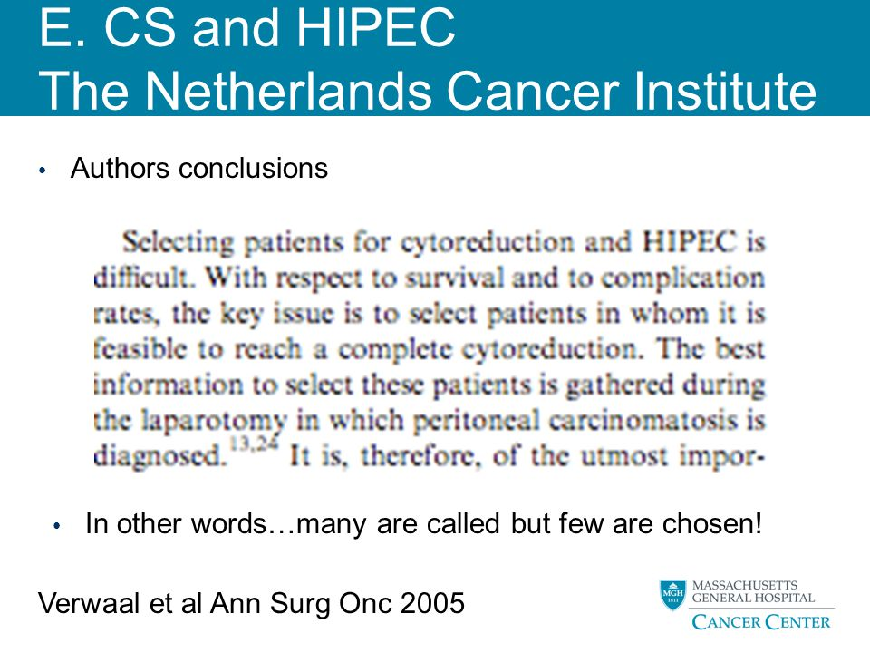 E. CS and HIPEC The Netherlands Cancer Institute