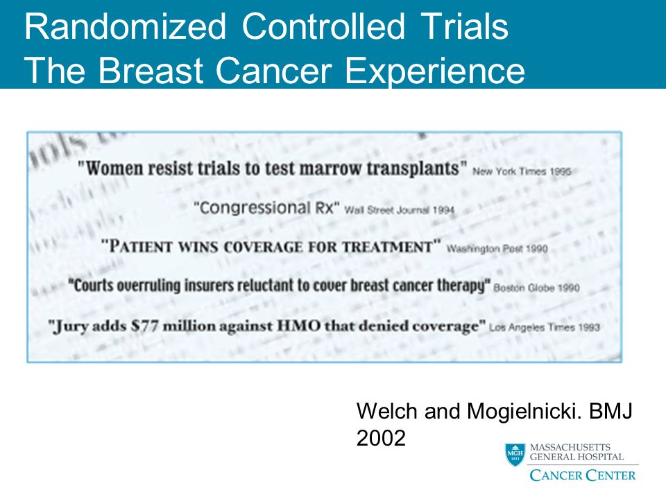 Randomized Controlled Trials The Breast Cancer Experience