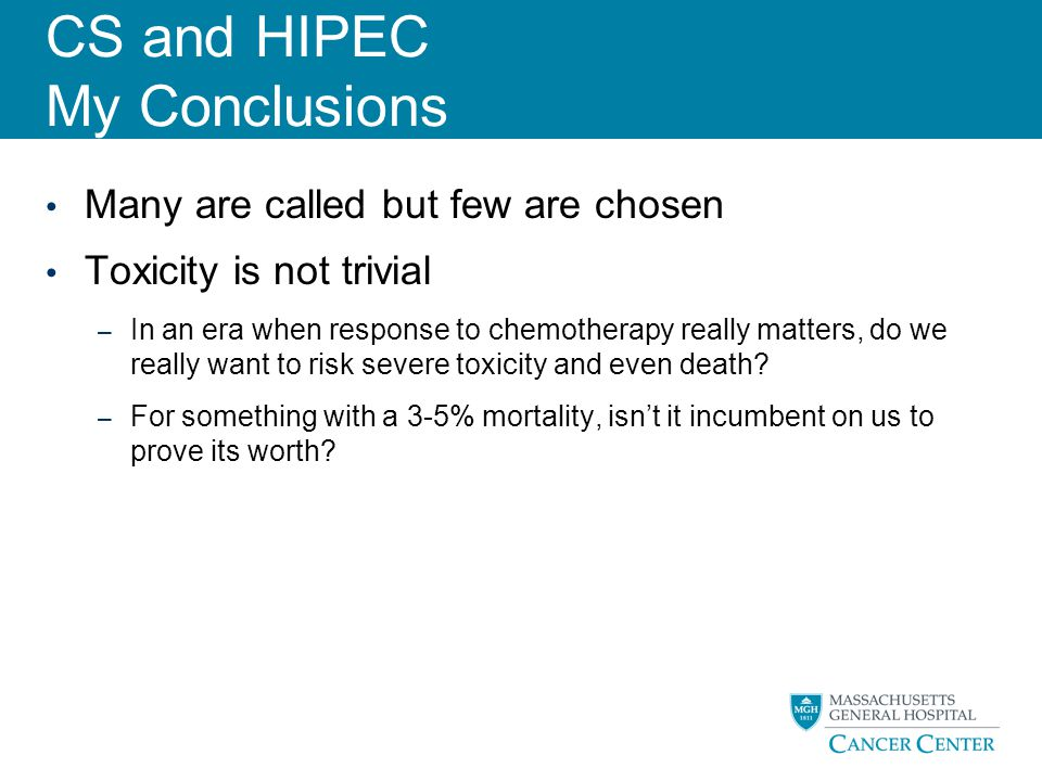 CS and HIPEC My Conclusions