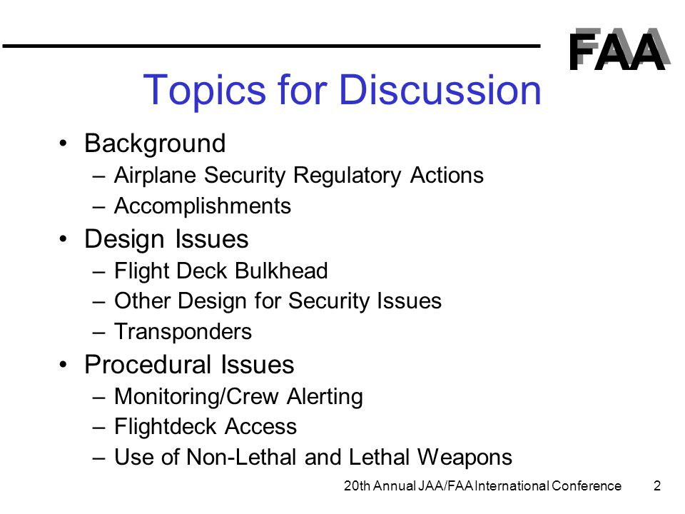 Topics for Discussion Background Design Issues Procedural Issues