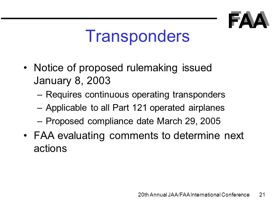 Transponders Notice of proposed rulemaking issued January 8, 2003