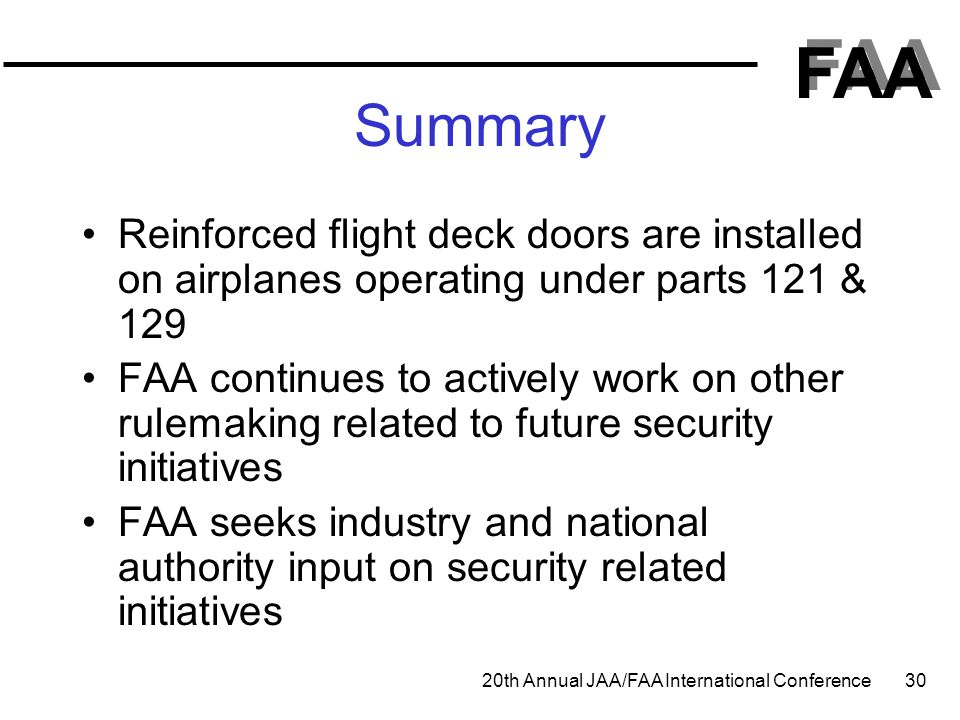 Summary Reinforced flight deck doors are installed on airplanes operating under parts 121 & 129.
