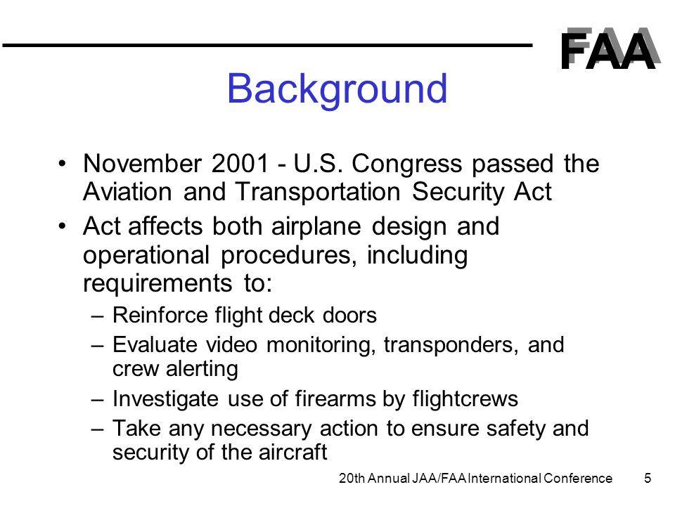 Background November 2001 - U.S. Congress passed the Aviation and Transportation Security Act.