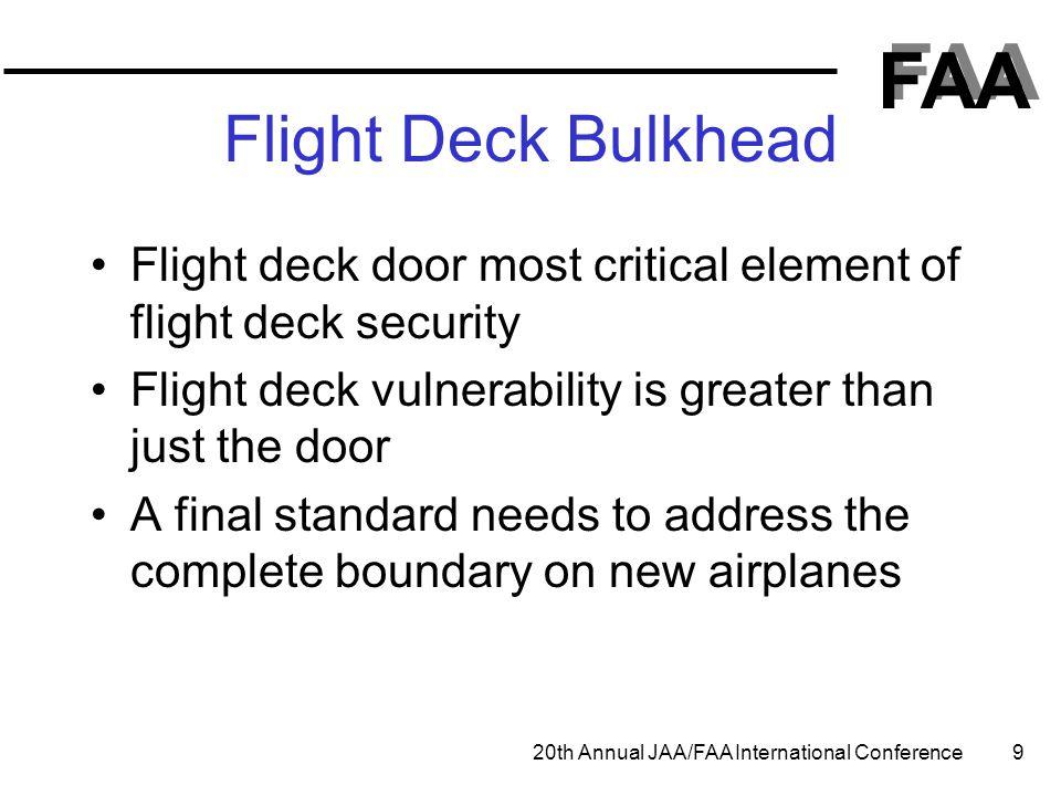Flight Deck Bulkhead Flight deck door most critical element of flight deck security. Flight deck vulnerability is greater than just the door.