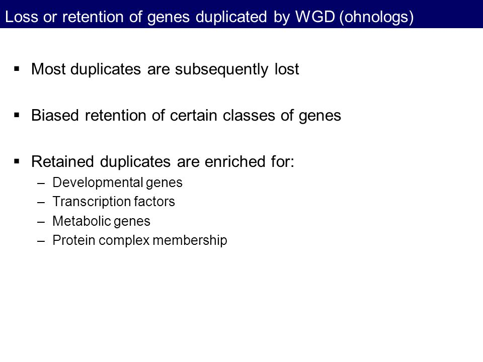 Loss or retention of genes duplicated by WGD (ohnologs)