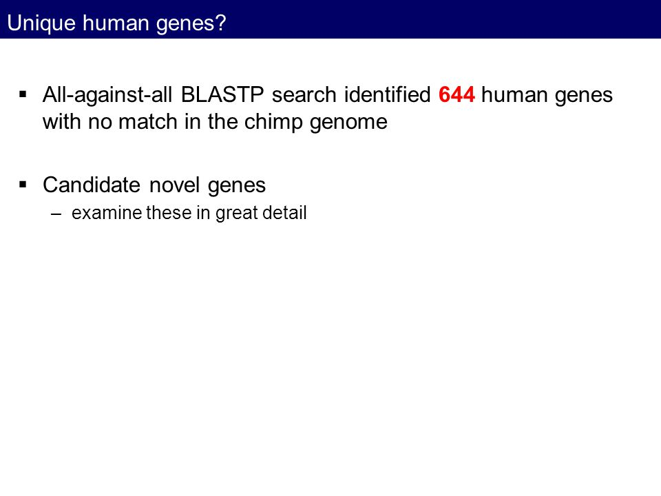 Unique human genes All-against-all BLASTP search identified 644 human genes with no match in the chimp genome.