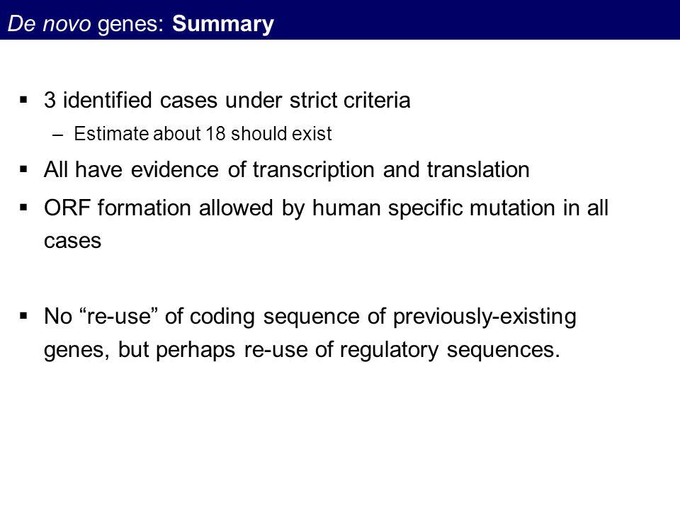 3 identified cases under strict criteria