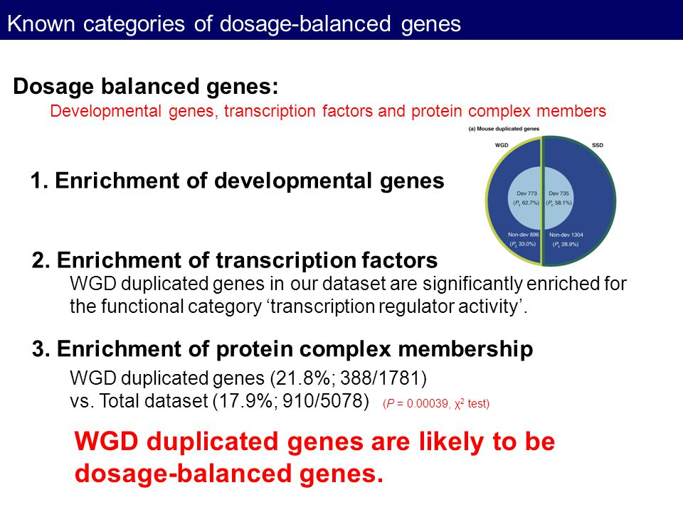 Known categories of dosage-balanced genes