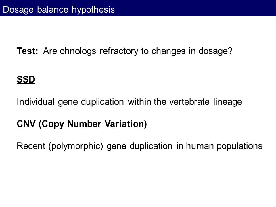 Dosage balance hypothesis