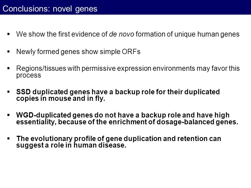 Conclusions: novel genes
