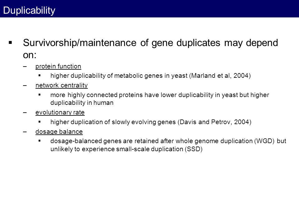 Survivorship/maintenance of gene duplicates may depend on: