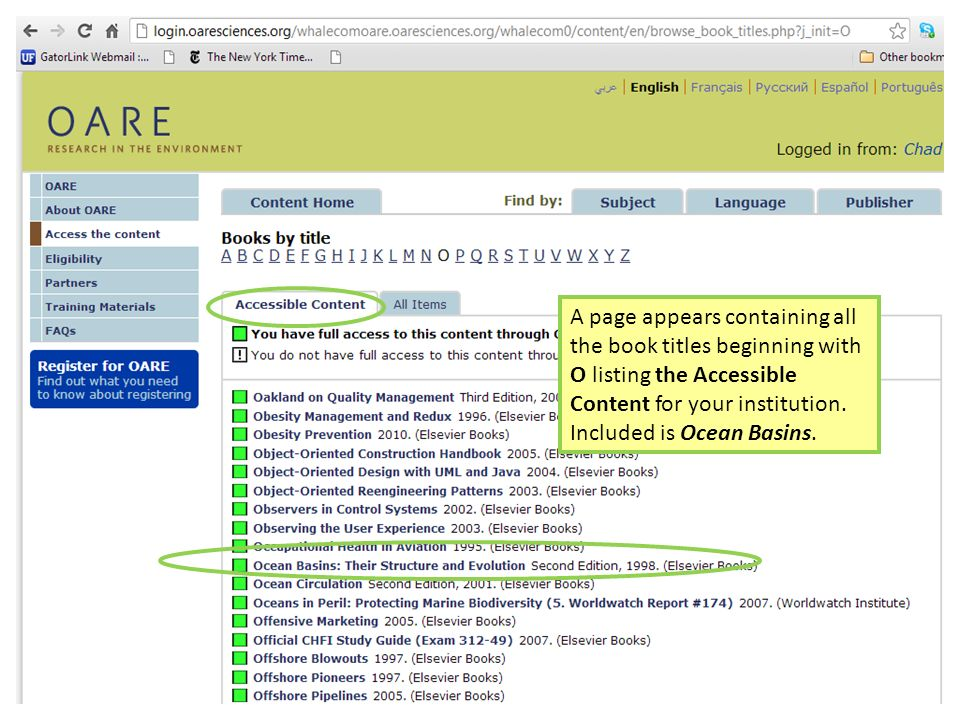 A page appears containing all the book titles beginning with O listing the Accessible Content for your institution. Included is Ocean Basins.