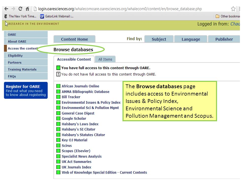 The Browse databases page includes access to Environmental Issues & Policy Index, Environmental Science and Pollution Management and Scopus.