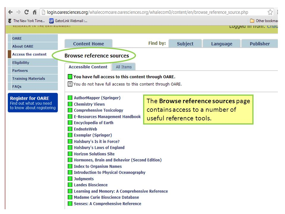 The Browse reference sources page contains access to a number of useful reference tools.