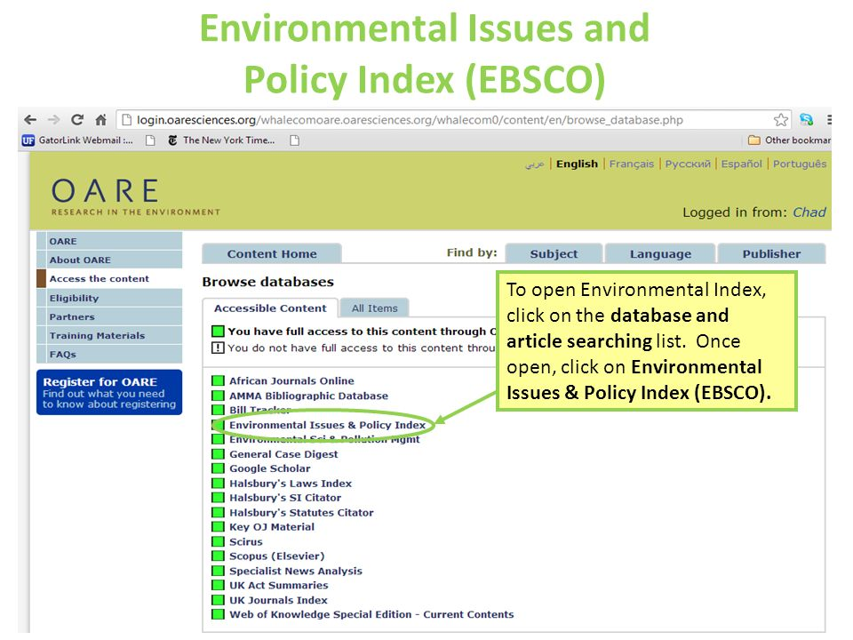 Environmental Issues and Policy Index (EBSCO)